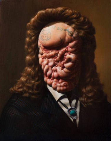 Christian-Rex-Van-Minnen-DOZE-Piggy-Boy-2012-Oil-Panel-14-x-11in